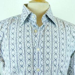 ETRO ITALY GEOMETRIC FLORAL STRIPE Shirt i42 L